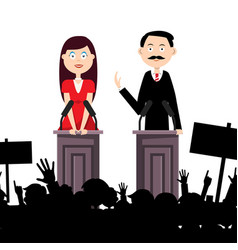 political meeting with people man and woman vector image