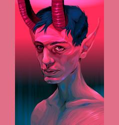 Portrait a devil boy vector