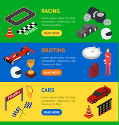 racing sport banner horizontal set isometric view vector image
