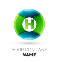 Realistic letter h logo symbol in colorful circle vector