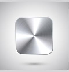 Realistic square metal chrome button steel volume vector