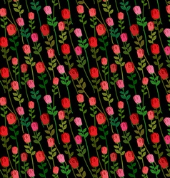 Red Roses on a black background seamless pattern vector image
