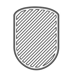 rounded shield in monochrome dotted contour and vector image