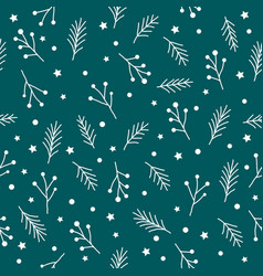Seamless christmas pattern with white fir twigs vector