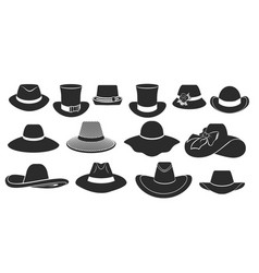 set flat icons with classic hats vector image