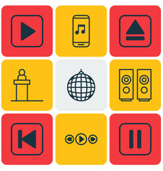 Set of 9 multimedia icons includes audio mobile vector