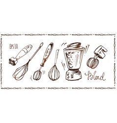 set of kitchen appliances hand drawn sketches vector image