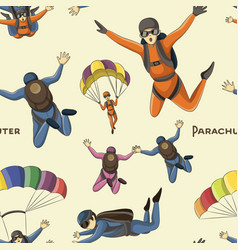 set of parachuter pattern vector image