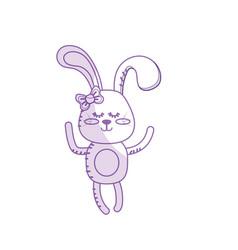 Silhouette cute rabbit girl wild animal character vector