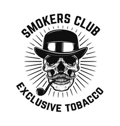 smokers club human skull with smoking pipe vector image
