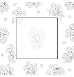 strawberry and flower outline banner on white vector image