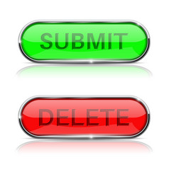 Submit and delete buttons shiny green and red vector