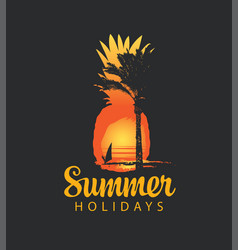 summer travel banner with sun palm and surfer vector image