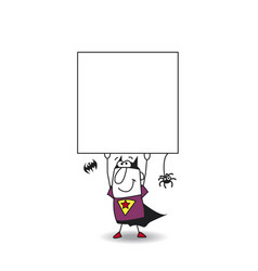 Superhero bat boy with a signboard vector