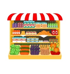 Supermarket Food on shelves vector