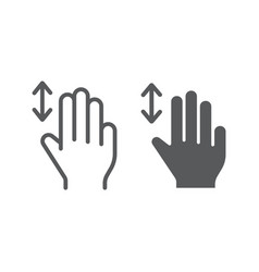 three fingers vertical scroll line and glyph icon vector image