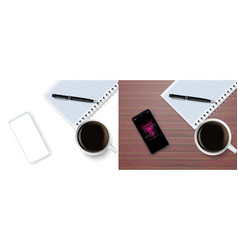 top view business coffee break with notepad vector image