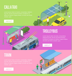 Trolleybus taxi and train station posters vector