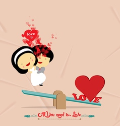 Valentines day with seesaw romantic vector