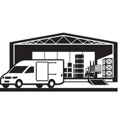 Van loading goods in distribution warehouse vector