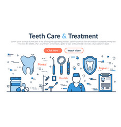 web site header - teeth care and treatment vector image