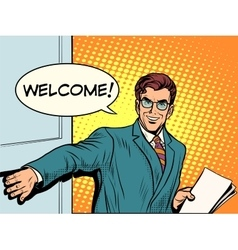 Welcome businessman opens the door vector