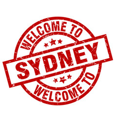 Welcome to sydney red stamp vector