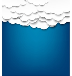 White paper clouds over blue background vector image
