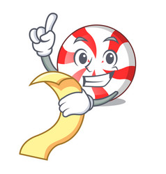With menu peppermint candy mascot cartoon vector