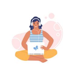 woman in headphones listening to music online vector image