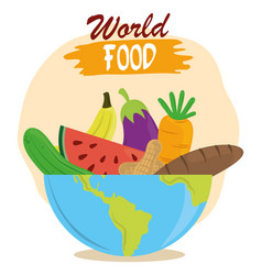 world food day fruits vegetables bread in bowl vector image
