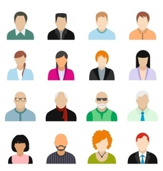 16 characters flat icons set vector image vector image