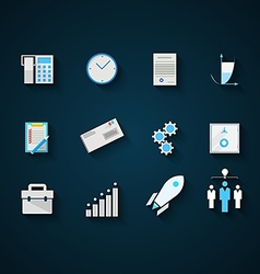 Flat icons colored collection for startup and vector image vector image
