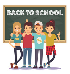 high school students and chalkboard - back to vector image