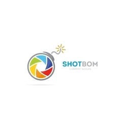 camera shutter and bomb logo combination vector image