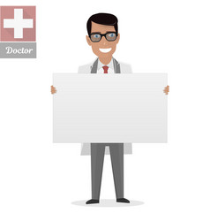 doctor on presentation white board for vector image vector image