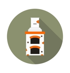 flat icon fireplace brick oven vector image vector image