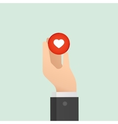 Hand and heart Medical concept Like button Flat vector image vector image