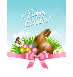easter background with eggs and rabbit vector image