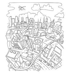 Line draw futuristic city architecture vector image