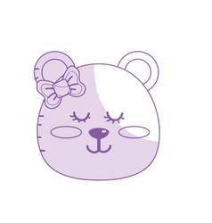Silhouette teddy bear girl head animal wild vector