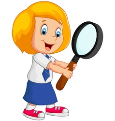 woman holding a magnifier vector image