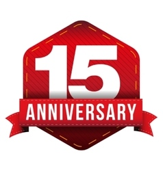 Fifteen year anniversary badge with red ribbon vector image vector image