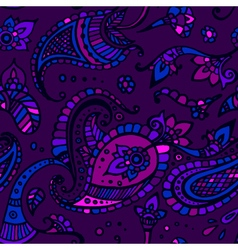 Purple colored paisley seamless pattern hand drawn vector image