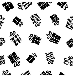 Seamless Gift pattern black gift boxes on white vector image