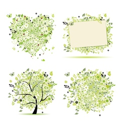 spring tree frame vector image vector image