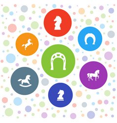 7 horse icons vector