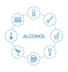 8 alcohol icons vector