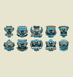 A collection of colorful logos emblems flying vector