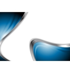 Abstract blue smooth design with metal waves vector